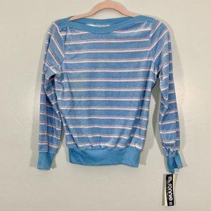 Vintage Early 90's Boat Neck Blue Pink Pullover